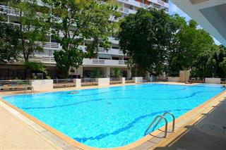 Condominium for sale South Pattaya showing the condo building and pool