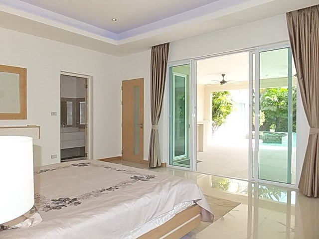 House for Sale at The Vineyard Pattaya showing the master bedroom pool view