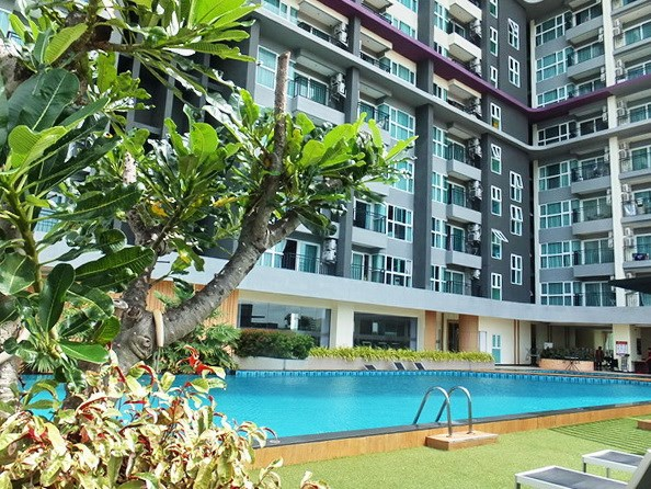 Condominium for rent Jomtien Pattaya showing the pool, gymnasium and building